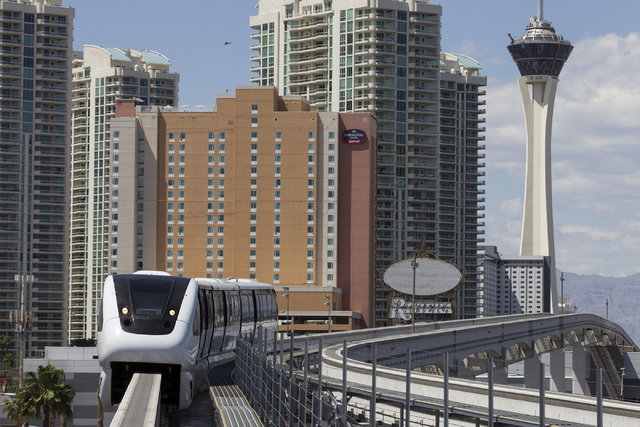 A monorail arrives to the Las Vegas Convention Center station on Thursday, May 26, 2016, in Las Vegas. Erik Verduzco/Las Vegas Review-Journal Follow @Erik_Verduzco