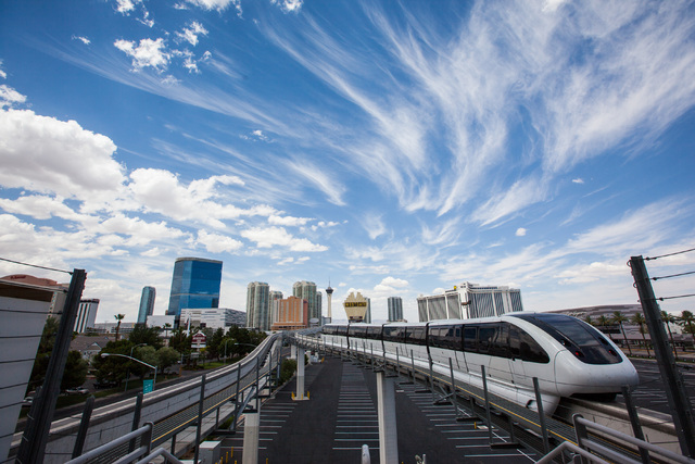 A northbound monorail leaves the Convention Center Las Vegas Monorail station on Thursday, July 9, 2015. (Chase Stevens/Las Vegas Review-Journal) Follow Chase Stevens on Twitter @csstevensphoto
