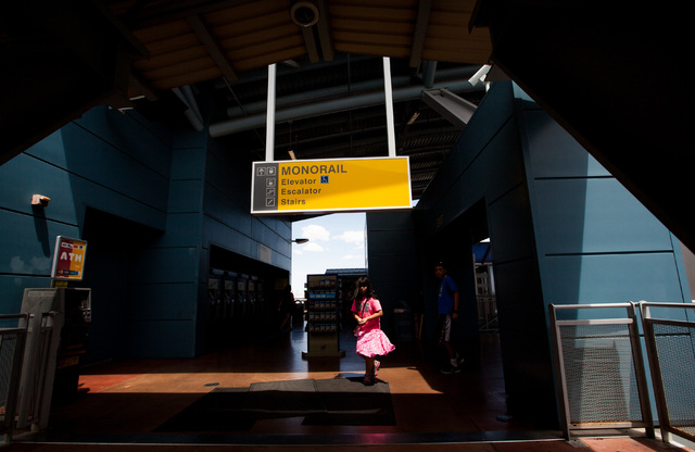 People make their way towards the exit at the Harrah's/The Linq Las Vegas Monorail station on Thursday, July 9, 2015. (Chase Stevens/Las Vegas Review-Journal) Follow Chase Stevens on Twitter @csst ...