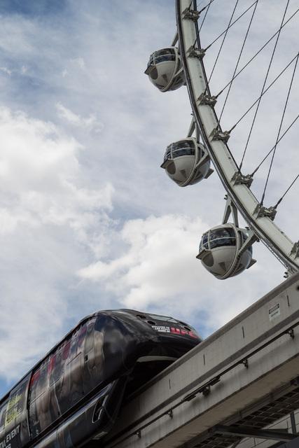The Las Vegas Monorail makes it's way past The High Roller in Las Vegas on Thursday, July 9, 2015. (Chase Stevens/Las Vegas Review-Journal) Follow Chase Stevens on Twitter @csstevensphoto