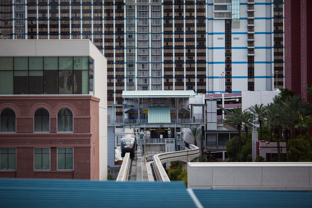 A northbound monorail departs from the Flamingo/Caesar's Palace station on Thursday, July 9, 2015. (Chase Stevens/Las Vegas Review-Journal) Follow Chase Stevens on Twitter @csstevensphoto
