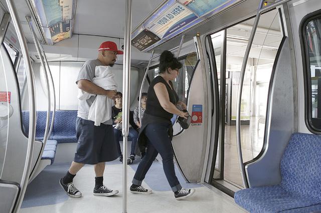 Passengers exit a Las Vegas Monorail  at Flamingo/Caesars Palace Station, Thursday, Oct. 27, 2016. (Bizuayehu Tesfaye/Las Vegas Review-Journal Follow @bizutesfaye)