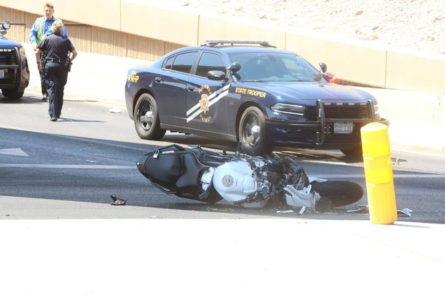 The Nevada Highway Patrol investigates a fatal motorcycle crash on the Interstate 15 offramp at the D Street exit on Aug. 23, 2016. (Bizuayehu Tesfaye/Las Vegas Review-Journal) @bizutesfaye