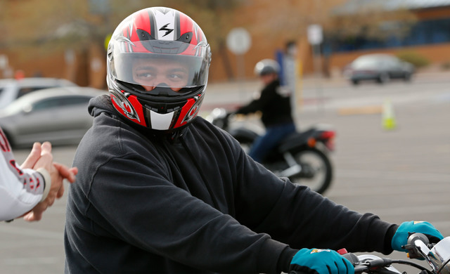 Jason Craft of Las Vegas listens to instructor Patrick Soles during a College of Southern Nevada motorcycle safety course at the college's Henderson campus on Sunday, Feb. 5, 2017. (Chitose Suzuki ...