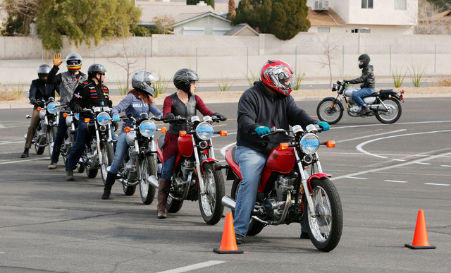 Motorcyclists participate in a College of Southern Nevada motorcycle safety course at the college's Henderson campus on Sunday, Feb. 5, 2017. (Chitose Suzuki/Las Vegas Review-Journal) @chitosephoto