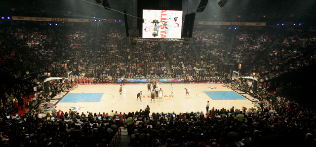 Opening tip-off of the NBA All-Star Game held at the Thomas and Mack Center on Sunday, Feb. 18, 2007. (Craig L. Moran/Las Vegas Review-Journal)