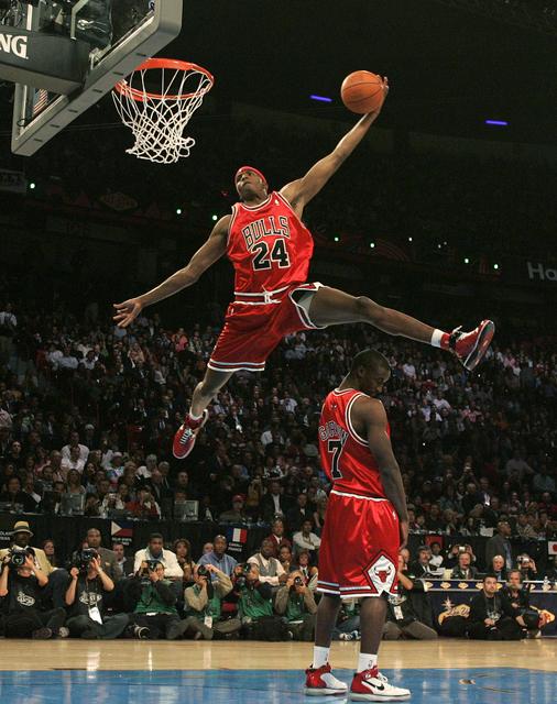 Tyrus Thomas makes a dunk during the NBA All-Star Slam Dunk contest at the Thomas & Mack Center in Las Vegas Saturday, Feb. 16, 2007. (John Locher/Las Vegas Review-Journal)