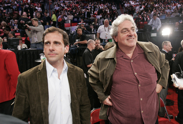 Steve Carrell, left, and Harold Ramis attend the NBA All-Star game at the Thomas & Mack Center in Las Vegas Sunday, Feb. 18, 2007. (John Locher/Las Vegas Review-Journal)