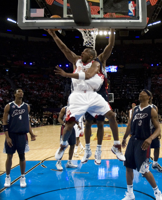 West guard Kobe Bryant of the Los Angeles Lakers goes up for a shot during the NBA All-Star Game at the Thomas & Mack Center Sunday, Feb. 18, 2007. Bryant earned Most Valuable Player honors fo ...