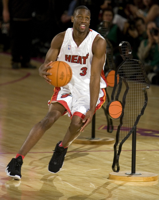 Miami Heat guard Dwyane Wade dribbles during the Skills Challenge competition during NBA All-Star festivities at the Thomas & Mack Center Saturday, Feb. 17, 2007. Wade beat Los Angeles Lakers  ...