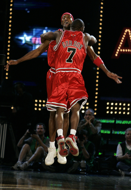 NBA legend Scottie Pippen, left, and current Chicago Bull guard Ben Gordon celebrate after thinking they won the Shooting Stars competition during NBA All-Star festivities at the Thomas & Mack ...