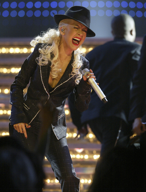 Christina Aguilera performs at half time during the NBA All-Star basketball game in at the Thomas & Mack Center Sunday, Feb. 18, 2007. (K.M. Cannon/Las Vegas Review-Journal)