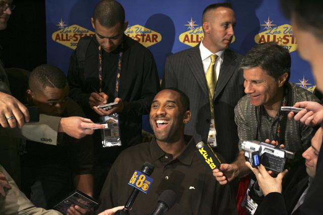 Western Conference NBA player Kobe Bryant during media interviews Friday, February 16, 2007 at the Palms Casino Resort. (John Gurzinski/Las Vegas Review-Journal)