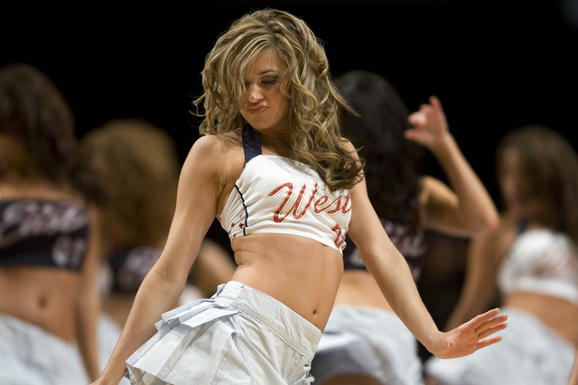 Dance team members from all 30 NBA teams perform during the NBA All-Star Celebrity Game at Mandalay Bay Friday, Feb. 16, 2007. The West beat the East 40-21. (K.M. Cannon/Las Vegas Review-Journal)