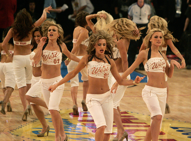 CRAIG L. MORAN/REVIEW-JOURNAL Sports-- The West Allstar dancers perform during a break at the NBA ALLSTAR game held at the Thomas and Mack Center Sunday February 18, 2007.