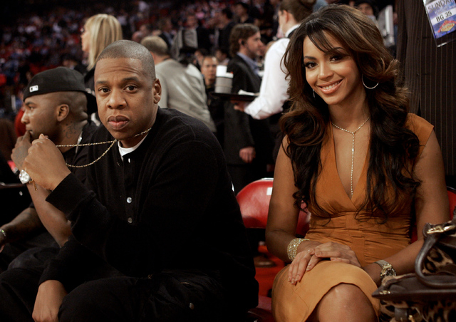 Entertainers Jay-Z and Beyonce are photographed before the NBA All-Star basketball game in Las Vegas on Sunday, Feb. 18, 2007. (AP Photo/Kim Johnson Flodin)