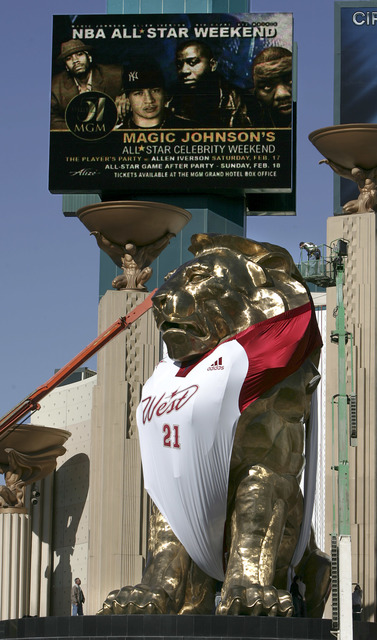 The MGM Grand hotel-casino outfitted the lion over their entrance in the newly designed NBA Western Conference jersey. The promotional event is part of the NBA Allstar Game in Las Vegas on Feb. 18 ...