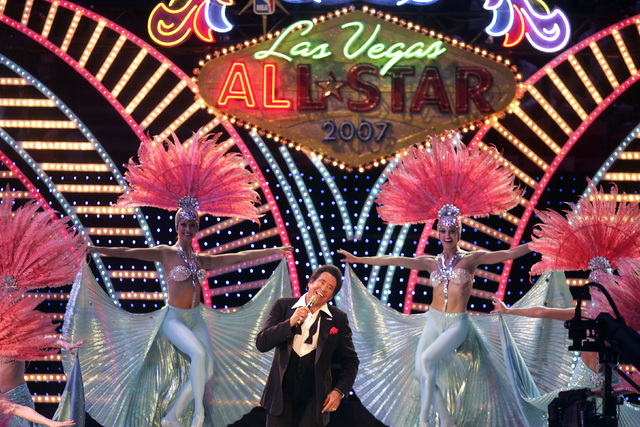 Wayne Newton sings during the opening ceremony for the All-Star basketball game at the Thomas and Mack Center in Las Vegas on Sunday, Feb. 18, 2007. (John Gurzinski/Las Vegas Review-Journal)