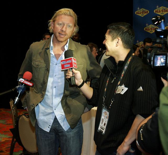 Boris Becker is interviewed at the Palms hotel-casino in Las Vegas on Friday, Feb. 16, 2007. (John Gurzinski/Las Vegas Review-Journal)