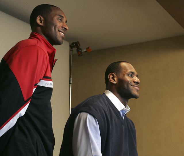 LeBron James waits for Kobe Bryant to pose together at the Palms hotel-casino in Las Vegas on Friday, Feb. 16, 2007. (John Gurzinski/Las Vegas Review-Journal)