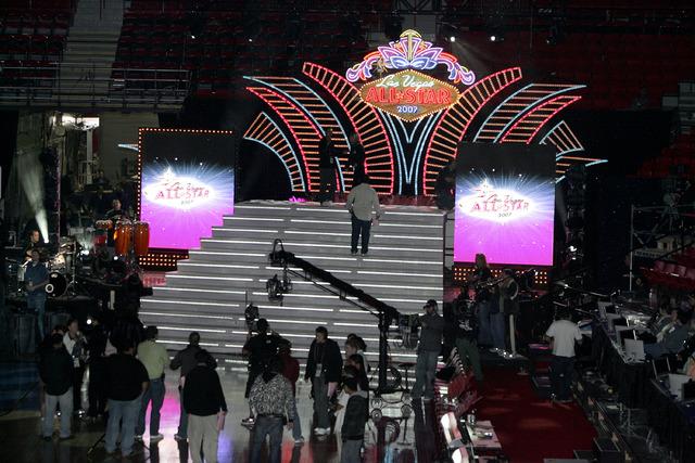 Rehearsal for the opening of the NBA All-Star game at the Thomas and Mack Center in Las Vegas on Thursday Feb. 15, 2007. (John Gurzinski/Las Vegas Review-Journal)