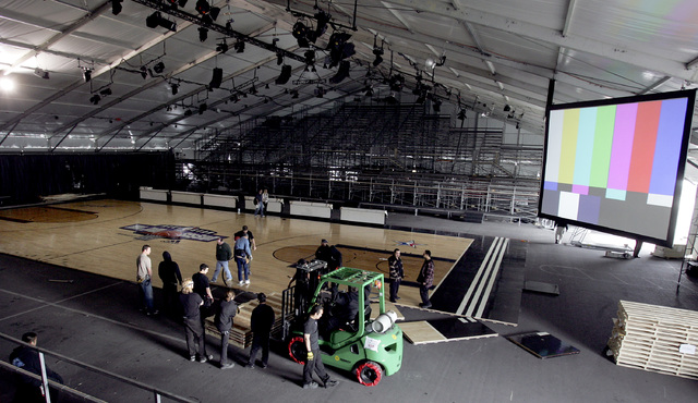 Floorboards for the Jam Session basketball court are installed at the Mandalay Bay Convention Center in Las Vegas on Tuesday, Feb. 13, 2007. (John Gurzinski/Las Vegas Review-Journal)