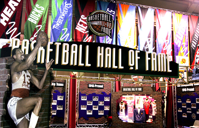 The Basketball Hall of Fame booth in the public area of Jam Session at the Mandalay Bay Convention Center in Las Vegas on Tuesday, Feb. 13, 2007. (John Gurzinski/Las Vegas Review-Journal)