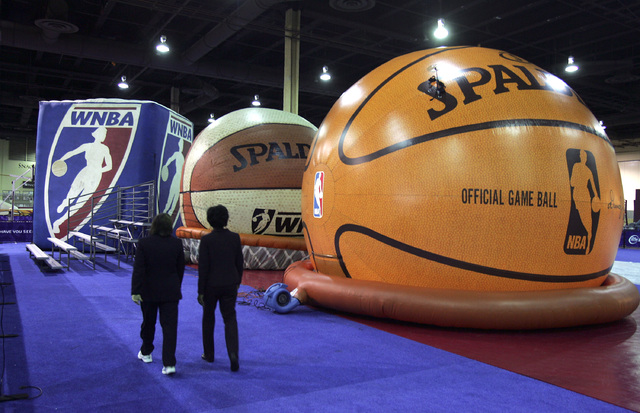 Inflatable replicas of basketballs house interactive games in the public area of Jam Session at the Mandalay Bay Convention Center in Las Vegas on Tuesday, Feb. 13, 2007. (John Gurzinski/Las Vegas ...