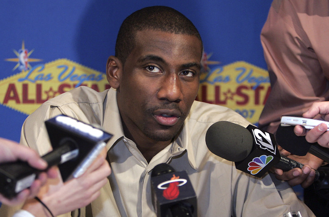 Western Conference NBA player Amare' Stoudemire during media interviews at the Palms hotel-casino in Las Vegas on Friday, Feb. 16, 2007. (John Gurzinski/Las Vegas Review-Journal)