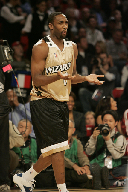 Gilbert Arenas reacts after he shot during the NBA All-Star Three-Point Shootout at the Thomas & Mack Center in Las Vegas Saturday, Feb. 16, 2007. (John Locher/Las Vegas Review-Journal)