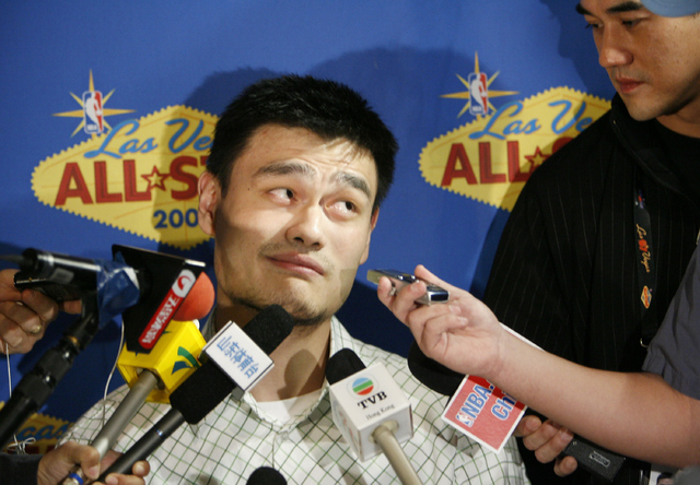 Yao Ming, from the Houston Rockets basketball team, speaks to the media at a news conference for the NBA All-Star weekend in Las Vegas, Nev., on Friday, Feb. 16, 2007. (AP Photo/Kevork Djansezian)
