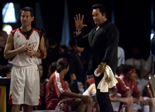 """""""Mr. Las Vegas"""" Wayne Newton serves as assistant coach for the West team including Actor James Denton, left, of """"Desperate Housewives"""" during the NBA All-Star C ..."""