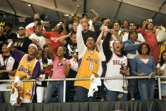 Fans cheer for celebrities to come to them for autographs and photographs after the NBA All-Star Celebrity Game at Mandalay Bay Friday, Feb. 16, 2007. The West beat the East 40-21. (K.M. Cannon/La ...