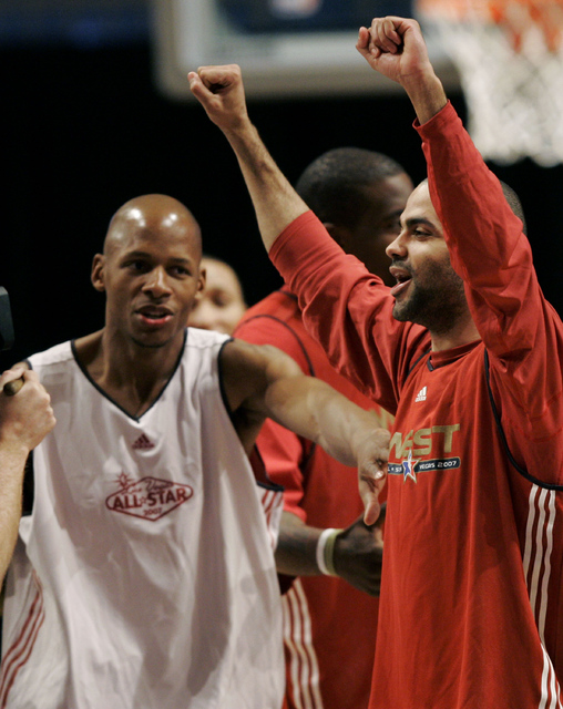 Ray Allen, left, from the Seattle Supersonics, jokes with Tony Parker, from the San Antonio Spurs, during NBA All-Star game practice in Las Vegas Saturday, Feb. 17, 2007. (AP Photo/Kevork Djansezian)