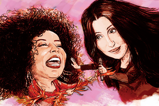 Diana Ross and Cher in Vegas (Illustration by Gabriel Utasi/Las Vegas Review-Journal)