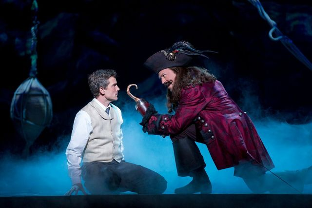 """Playwright James M. Barrie (Kevin Kern) confronts pirate nemesis James Hook (Tom Hewitt) in the musical """"Finding Neverland,"""" which opens Tuesday at The Smith Center. (Carol Rosegg/Smith Center ..."""