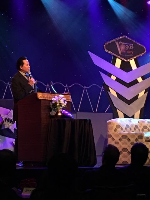 Wayne Newton is shown at the celebration of life service for Tony Sacca at Stratosphere Showroom on Monday, Feb. 6, 2017. (John Katsilometes/Las Vegas Review-Journal).