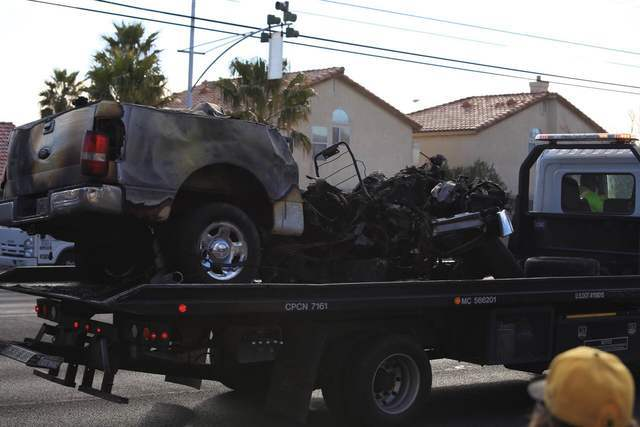 One person was killed in a single-vehicle crash at Decatur Boulevard and Alexander Road in North Las Vegas on Feb. 3, 2017. (Brett Le Blanc/Las Vegas Review-Journal)