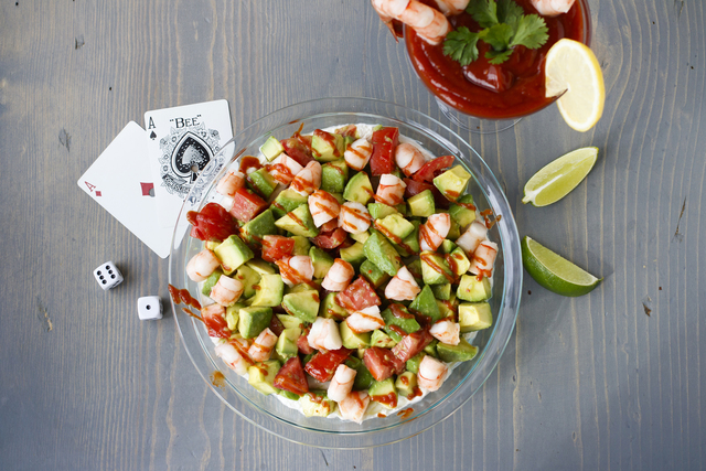 Inspired by Las Vegas' famous shrimp cocktails, the Sin City Cocktail Dip combines the crustaceans with avocados, tomatoes and cocktail sauce. It would make a fine addition to your Super Bowl fo ...