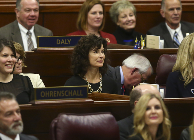 State Sen. Heidi Gansert, R-Reno, center, during Nevada Gov. Brian Sandoval's final State of the State address at the Legislative Building in Carson City on Tuesday, Jan. 17, 2017. (Chase Stevens/ ...
