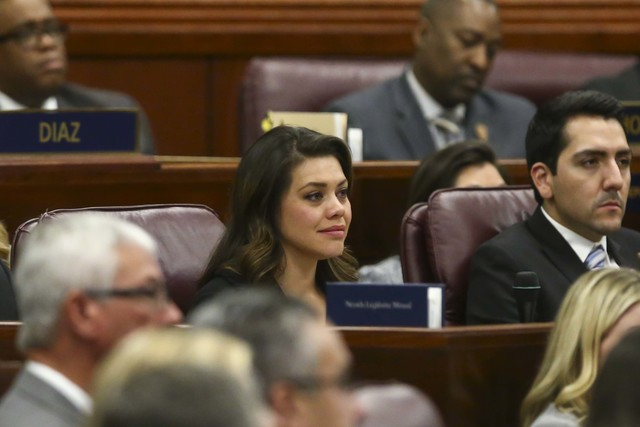 Assemblywoman Teresa Benitez-Thompson during Nevada Gov. Brian Sandoval's final State of the State address at the Legislative Building in Carson City on Tuesday, Jan. 17, 2017. (Chase Stevens/Las  ...