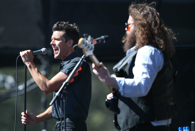 Brandon Flowers and The Killers perform at the 20th annual Tahoe Summit in Stateline, Nev., on Wednesday, Aug. 31, 2016. The annual event focuses on environmental protection of Lake Tahoe. (Cathle ...