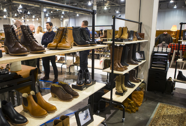 Women's boots from Red Wing Shoes on display at the Off Price Expo at the Sands Expo and Convention Center in Las Vegas on Monday, Feb. 20, 2017. (Miranda Alam/Las Vegas Review-Journal) @miranda_alam