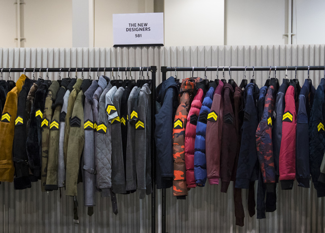 A rack of coats at from The New Designers at the Off Price Expo at the Sands Expo and Convention Center in Las Vegas on Monday, Feb. 20, 2017. (Miranda Alam/Las Vegas Review-Journal) @miranda_alam