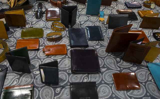 Leather goods on display at the Off Price Expo at the Sands Expo and Convention Center in Las Vegas on Monday, Feb. 20, 2017. (Miranda Alam/Las Vegas Review-Journal) @miranda_alam