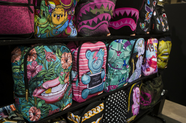 Various backpacks from Sprayground on display at the Off Price Expo at the Sands Expo and Convention Center in Las Vegas on Monday, Feb. 20, 2017. (Miranda Alam/Las Vegas Review-Journal) @miranda_alam
