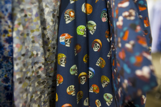 A shirt with skeletons wearing motorcycle helmets sits on display at the Off Price Expo at the Sands Expo and Convention Center in Las Vegas on Monday, Feb. 20, 2017. (Miranda Alam/Las Vegas Revie ...