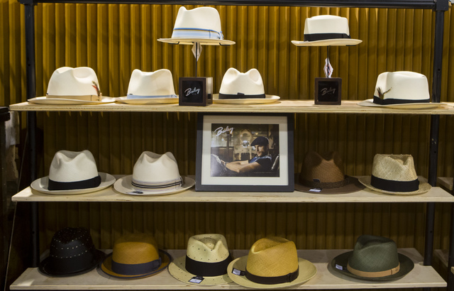 Hats from Bailey of Hollywood sit on display at the Off Price Expo at the Sands Expo and Convention Center in Las Vegas on Monday, Feb. 20, 2017. (Miranda Alam/Las Vegas Review-Journal) @miranda_alam