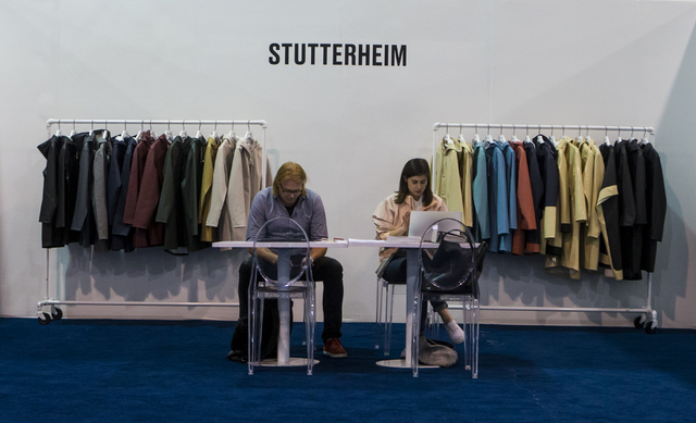 The Stutterheim booth at the Off Price Expo at the Sands Expo and Convention Center in Las Vegas on Monday, Feb. 20, 2017. (Miranda Alam/Las Vegas Review-Journal) @miranda_alam