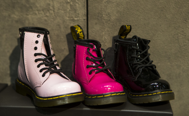 Children's Doc Martens on display at the Off Price Expo at the Sands Expo and Convention Center in Las Vegas on Monday, Feb. 20, 2017. (Miranda Alam/Las Vegas Review-Journal) @miranda_alam